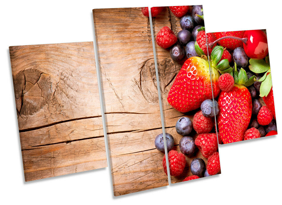Strawberry Fruit Kitchen CANVAS WALL ART MULTI Panel Picture Print