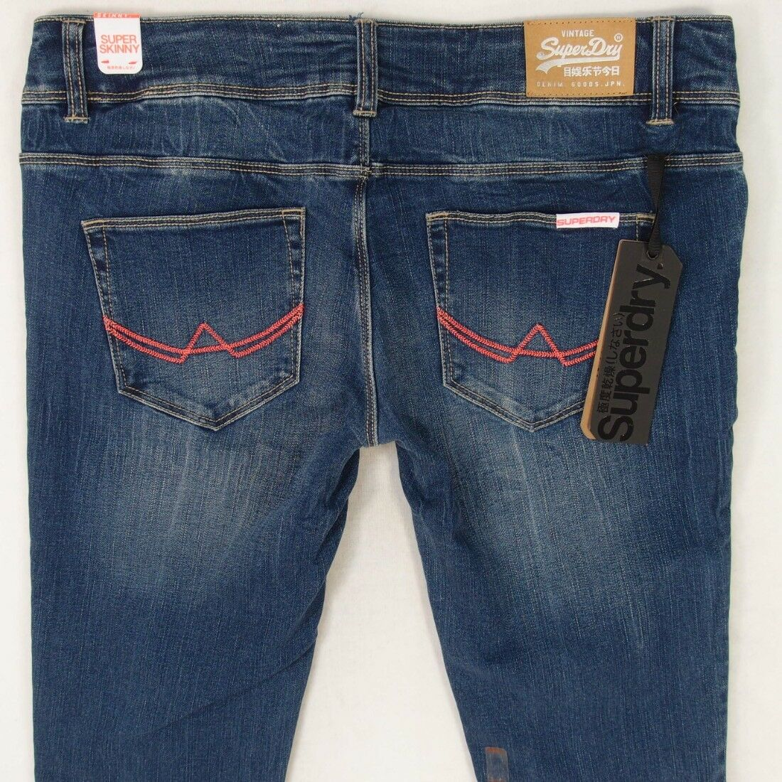 NEW Womens SuperDry SUPERSKINNY Stretch Skinny bluee Jeans W32 L32 BNWT Size 12