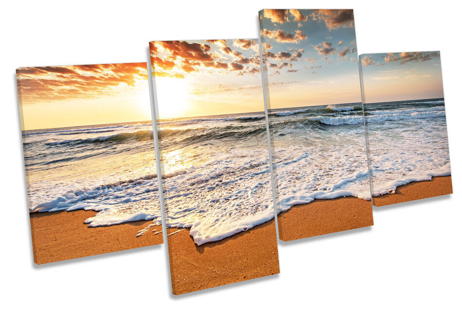 SUNSET Beach Seascape Canvas Wall Art Multi Box Box Box incorniciato 8eb272