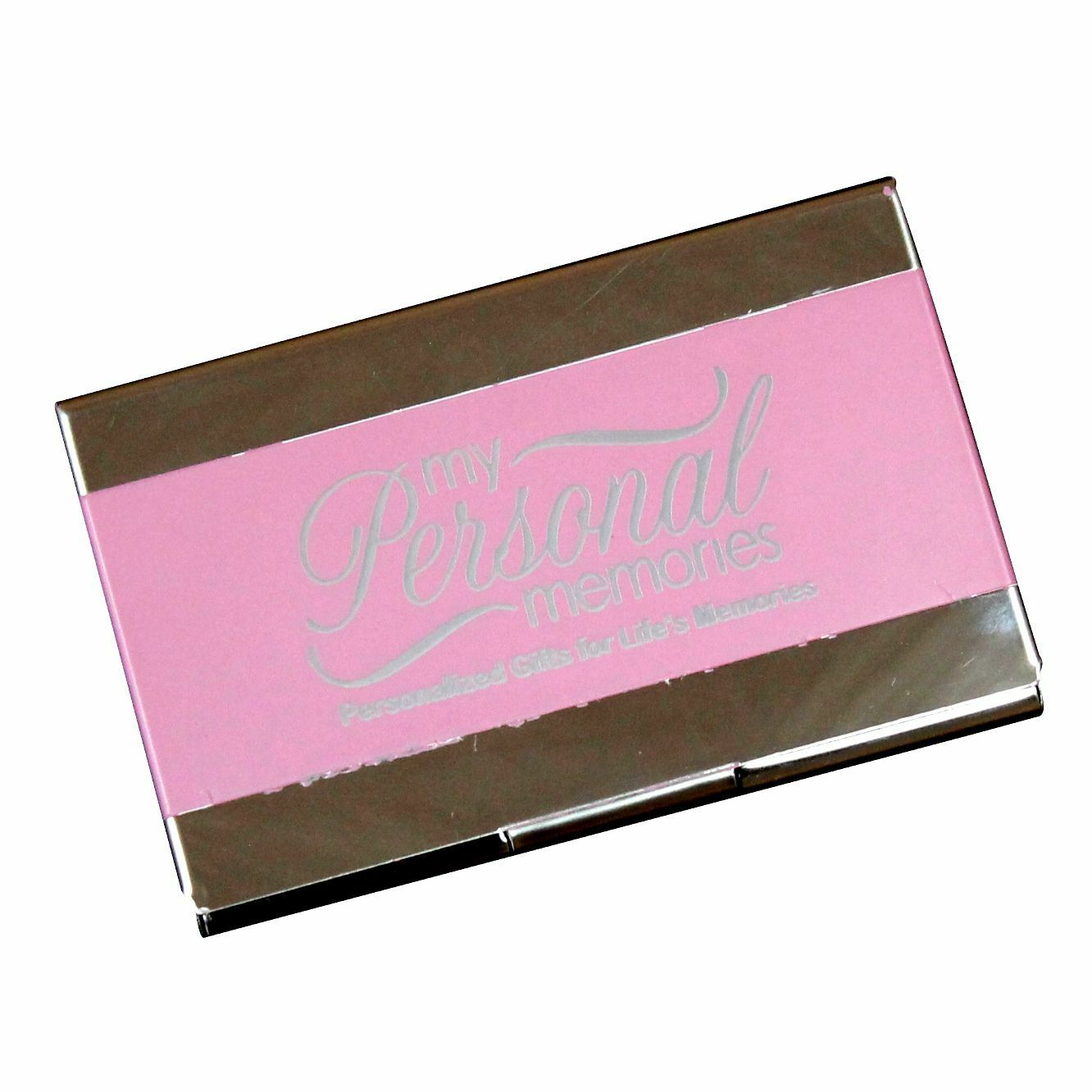 Personalized Pink Business Card Case Holder - Custom Engraved Office ...