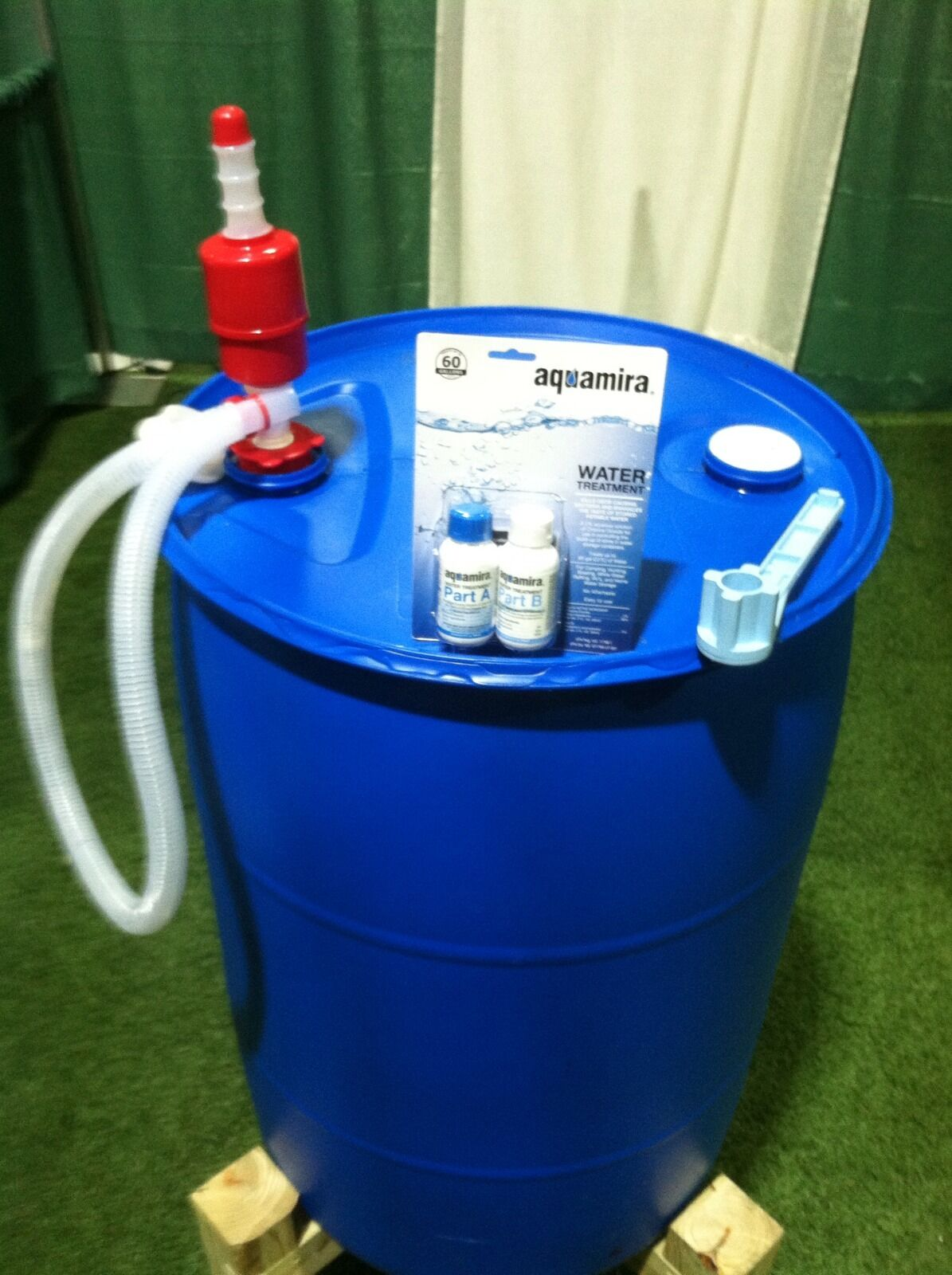 EMERGENCY PURIFIED WATER STORAGE KIT- blueE OR WHITE 55 Gallon Barrel - UPCYCLED