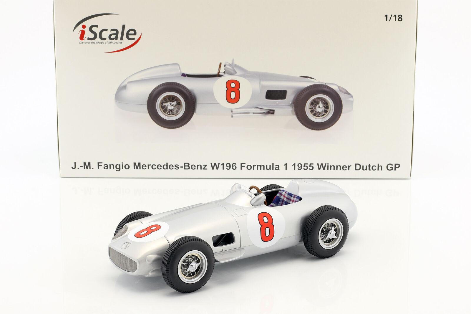J con Fangio Mercedes-Benz W196  8 Campeón Del Mundo Fórmula 1 1955 1 18 iscale