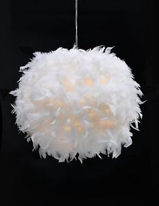 White feather ceiling pendant light shade lamp lampshade floor table image is loading white feather ceiling pendant light shade lamp lampshade aloadofball Image collections