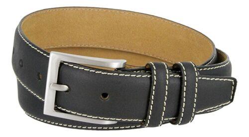 """Hagora Men 1-3//8/"""" Wide Genuine Leather White Stitch Silver Square Buckle Belt"""