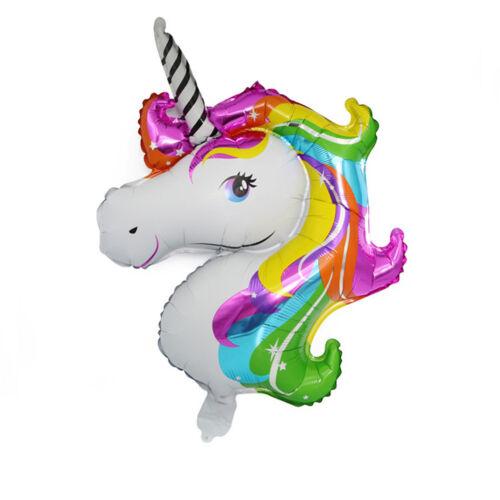 70x46cm-Rainbow Unicorn Head Foil Balloon Kids Birthday Party Balloons Decor Gut