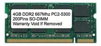 4gb Ddr2 667 Mhz Pc2-5300 Sodimm Memory For Ibm Lenovo Hp Dell Laptop Apple