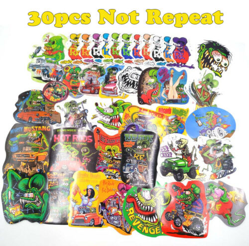 30pcs Random Vinyl Decal Graffiti Ed Roth Hot Rods Rat Fink Stickers