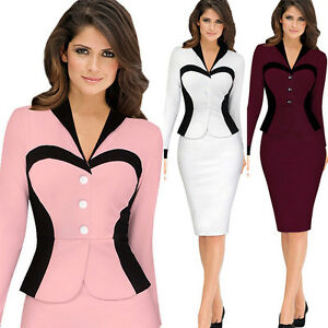 Women-Peplum-Frill-Sexy-Bodycon-Business-Party-Office-OL-Work-Midi-Pencil-Dress