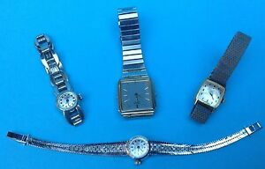 Konvolut-4x-Damen-Uhr-Armbanduhr-Amara-Favor-Seiko-Junghans-teils-Silber-1950