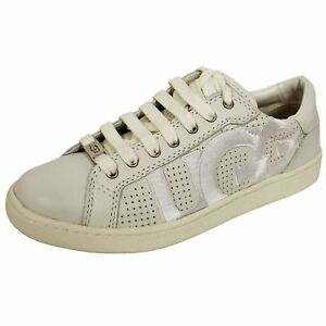 UGG MILO WOMENS WHITE LEATHER TRAINERS