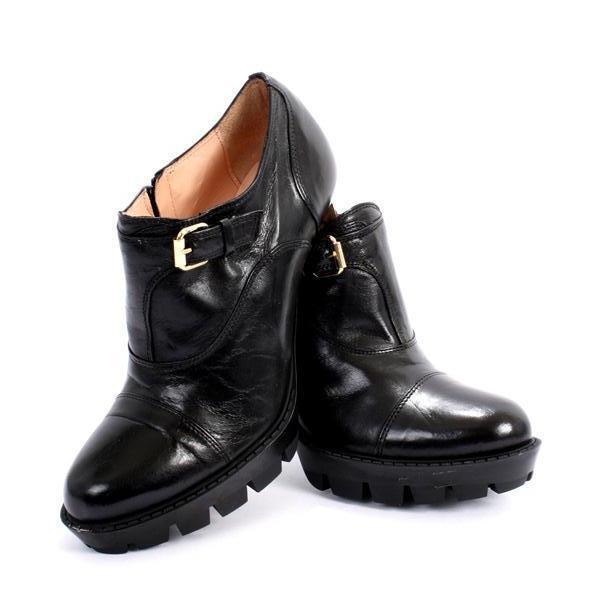 Isabelle 816 Black Leather Side-Zip Stiletto Heel Booties 40   US 10
