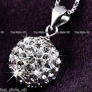 925-Sterling-Silver-Crystal-Diamond-Love-Ball-Necklace-Pendant-Gift-for-her-Girl
