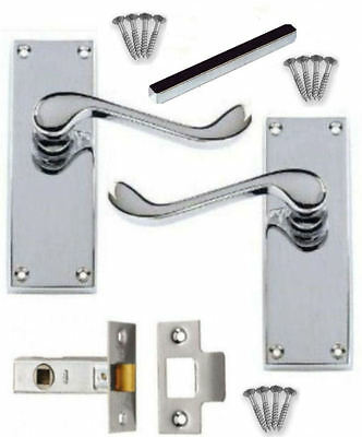 Victorian Chrome Scroll Door Handle PACKS Lever LATCH LOCK BATHROOM PRIVACY EURO
