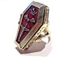 BRONZE COFFIN POISON RING vampire box casket gothic Halloween gold red sz 6.5 6B