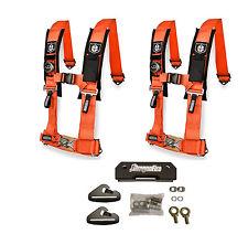 Pro Armor 4 Point 2 Padded Seat Belts Harness Pair Mount Kit Orange General