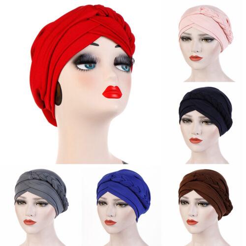 Wrap Hair Loss Head Scarf Women Turban Cap Muslim Beads Braid Cancer Chemo Hat~