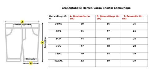 Herren Sommerhose Bermudas Camouflage Cargohose Cargoshorts Kurzehose mit Gürtel