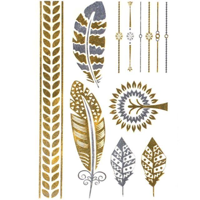 Tatouages Ephémères Couleur métal Plume Arbre Feuille Bijoux de Peau Tattoo