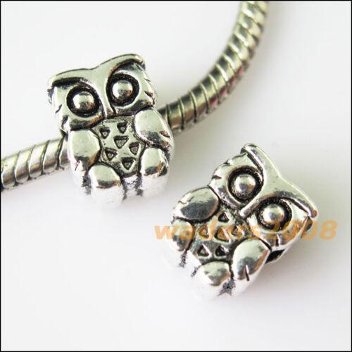 8 New Owl Bird Tibetan Silver Spacer Beads fit European Charm Bracelets 8.5x11mm