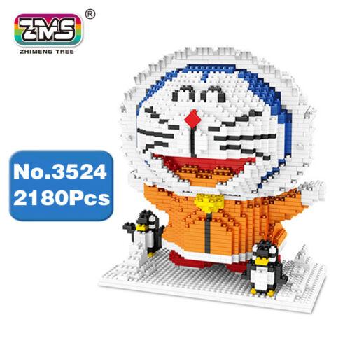ZMS Anime Doraemon Winter Snow Cat Micro Diamond Mini Building Nano Blocks Toy