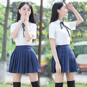 Japanese High School Girl Sailor Uniform Suit Costume Party Dress Pleated skirt