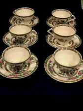 Portmeirion Pomona Traditional Shape Breakfast Cup and Saucer Set of 6 Assorted Motifs