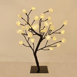 Modern Floral Rose Tree Table Lamp 32 Warm White LEDs Flower Light ...
