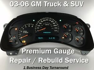 04 SEIRRA GMC Speedometer Instrument Cluster Repair Rebuild Service