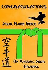 Karate Judo Taekwondo Grading Green Belt Congratulations Personalised Card PDS58