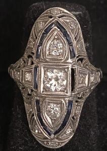 1930s Antique Art Deco Platinum Diamond & SapphireFiligree Cocktail Ring