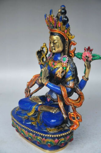 Tibeta antique handmade Copper cloisonne Four arm Buddha GUANYIN statue