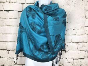 Blue-Black-Floral-Pashmina-Scarf-Wrap-Fringe-73x27-034-Viscose-Blend