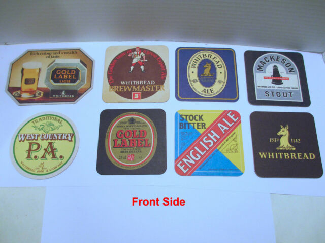 8 Vintage Whitbread Beer Coasters Mats: Gold Label, Brewmaster, Mackeson, Ale PA