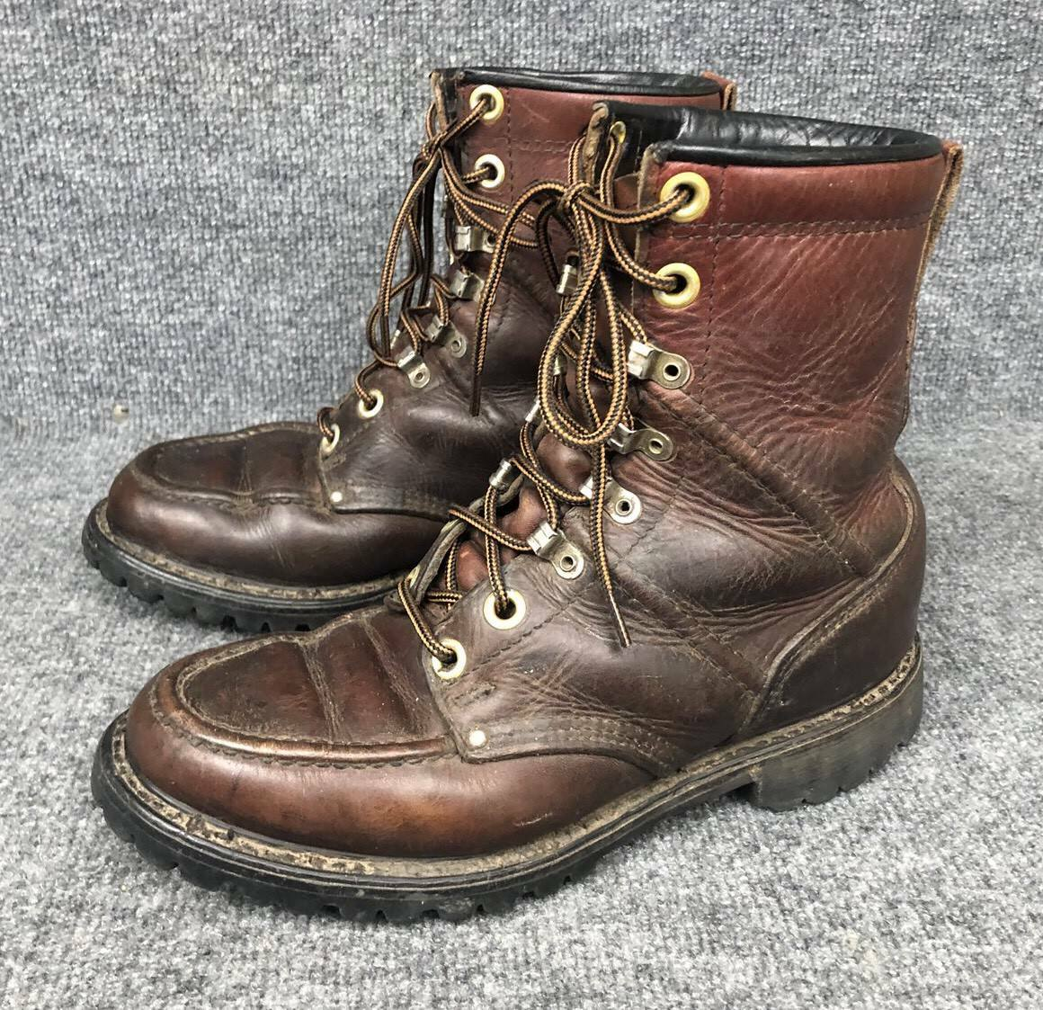 Vintage HH Double H Brown Leather Work Boots Mens Size 7 In EUC