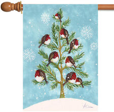 "Snow Pine Chickadees House Flag Birds Vintage Yard Banner 28/"" x 40/"""