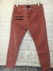 5dd7000fa4f6 Forever 21 Womens Size 30 Red Gingham Tapered Skinny Premium Denim ...