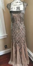 ADRIANNA PAPELL Beaded Embellished Women's Size 8 Ball Gown Dress Retail $340!
