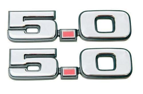 79-93 Ford Mustang 5.0 Chrome Fender Emblem PAIR Reproduction 1979-1993 Fox Body