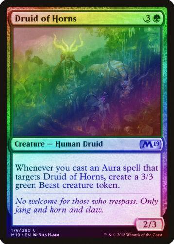 Druid of Horns FOIL Core Set 2019 M19 NM Green Uncommon MAGIC CARD ABUGames
