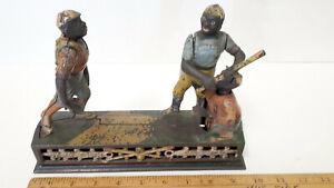 Darktown-Battery-1888-Cast-Iron-Baseball-Players-Mechanical-Bank-Great-Display