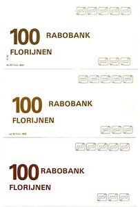Testbiljetten Rabobank 3 verschillende 100 florijnen omstreeks 1982 enkelzijdig