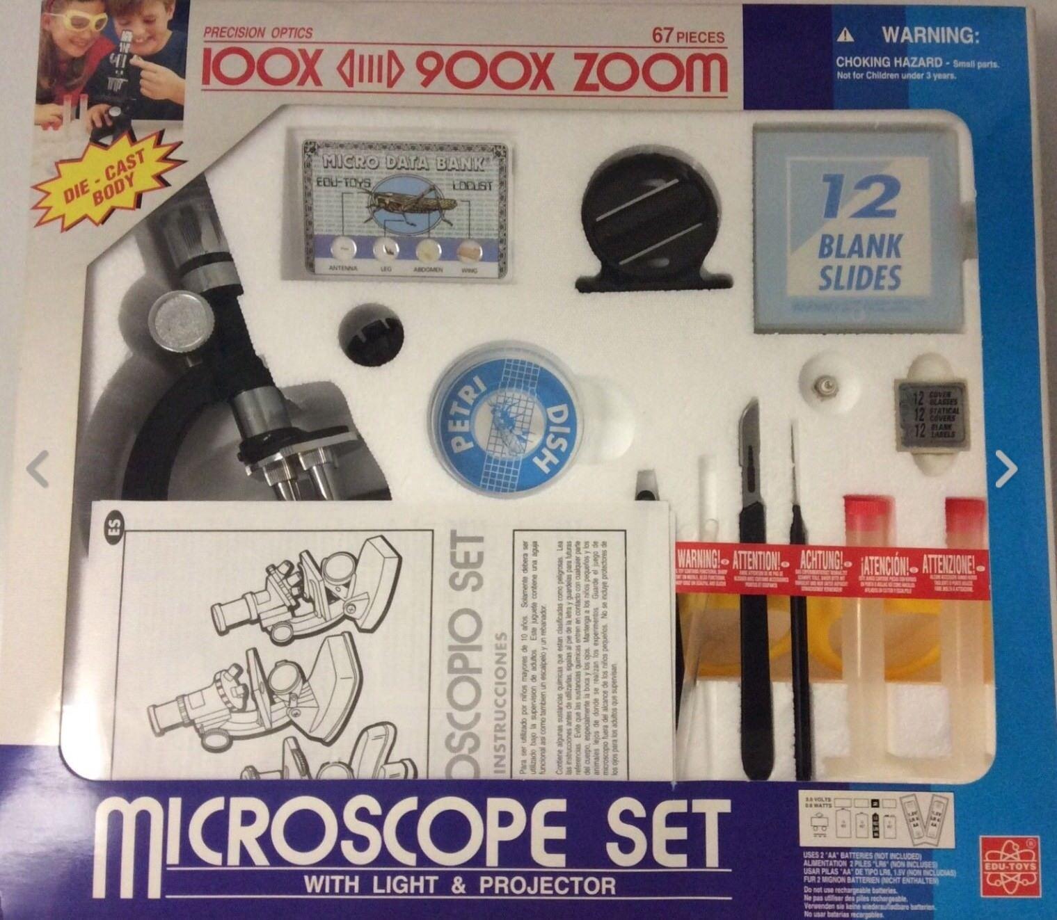 Mikroskop med ljus och PROJEKTOR.100x 900x ZOOM.67 PIECES.PRECISION OPTIC.
