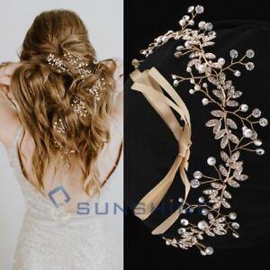 Long Chain Headpiece Wedding Hair Vine Bridal Accessories Crystal Pearl Headband