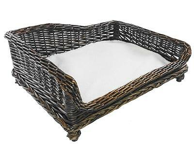 Large Big Huge XL Wicker Dogs Puppies Pet Bed Basket Seat Couch Padded Cushion