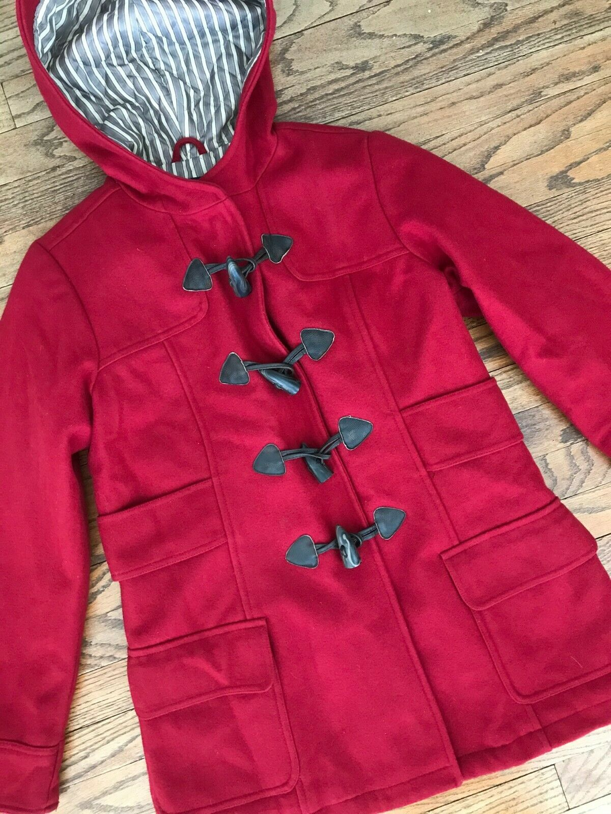 American Eagle Red Wool Toggle Button Duffle Duff… - image 4