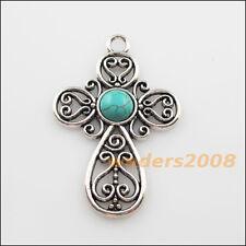 2 New Charms Tibetan Silver Turquoise Cross Flower Pendants DIY 31x47.5mm