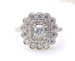 1.03ct Faint Blue Diamond Engagement Ring GIA Cushion Hallo 18K White Gold VS1