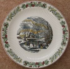 ADAMS WINTER SCENES N CURRIER LITHOGRAPHER NEW YORK LARGE PLATE HOLLY MISTLETOE