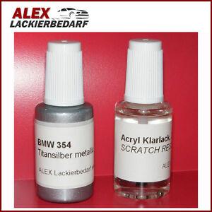 Lackstift-BMW-354-Titansilber-metallic-Klarlack-2x20ml-Pinselflasche
