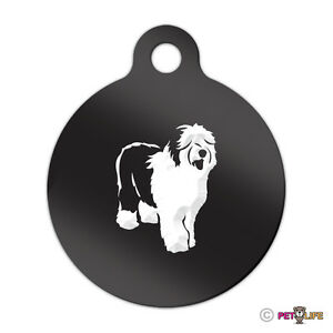 Old English Sheepdog Engraved Keychain Round Tag w/tab oes Many Colors